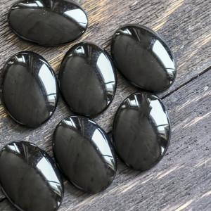 Кабошон стеклянный, овальный, черный, 25х18 мм...