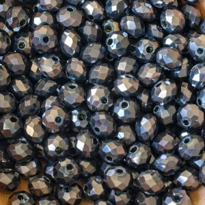 Бусина абакус стеклянная граненая, темно-серый, 10х7,5 ...
