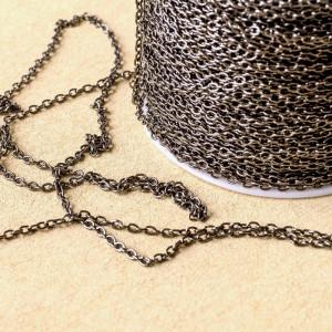 Цепочка для бижутерии, цвет - черный, размер звена 3x2x...