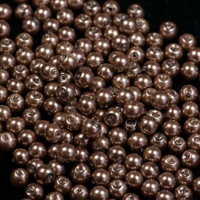 Бусина стеклянный жемчуг, коричневый, 6 мм