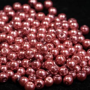 Бусина стеклянный жемчуг, розово-красный, 6 мм...