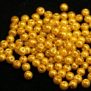 Бусина стеклянный жемчуг, золотистый, 6 мм...