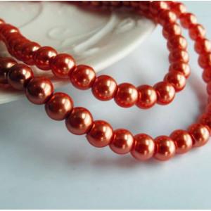 Бусина стеклянный жемчуг, ярко-оранжевый, 6 мм...