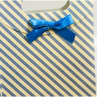 Пакет подарочный картонный с полосатым узором, 165х125 мм
