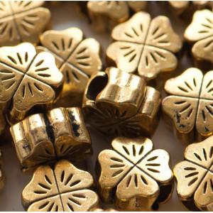 Бусина-тоннель металлическая, античное золото, 10х10х6 ...