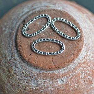Коннектор овальный, античное серебро, 23x13x1 мм...