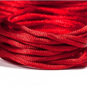 Атласный шнур для кумихимо, красный, 2 мм...