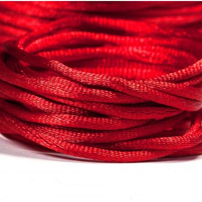 Атласный шнур для кумихимо, красный, 2 мм