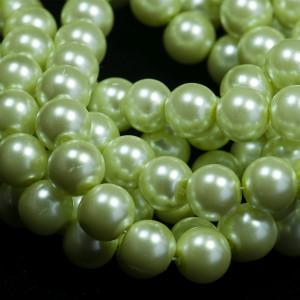 Бусина стеклянный жемчуг, бледно-зеленый, 12 мм...