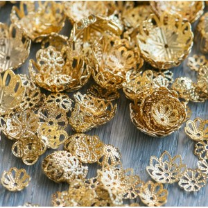 Чашечка (шапочка) для бусин, золото, разные размеры (уп...