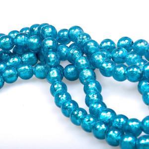 Бусина стеклянная фольгированная, ярко-голубой, 10 мм...
