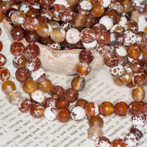 Граненые бусины агата, цвет коричнево-оранжевый с белым...