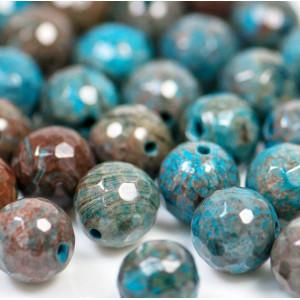 Граненые бусины агата, цвет голубой с коричневым, окраш...