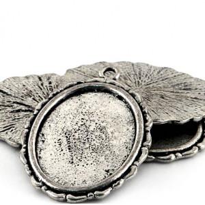 Сеттинг овальный с местом под кабошон, античное серебро...