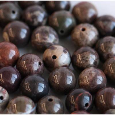 Бусина агат цветочный, круглая, цвет оливковый, 8 мм