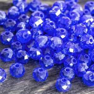 Бусина абакус стеклянная граненая, синий с переливами, ...