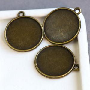 Сеттинг круглый, античная бронза, 34.5x30x2.5 мм...