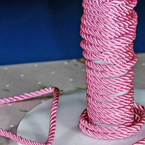 Витой полиэстеровый шнур, насыщенный розовый, 3,5 мм...