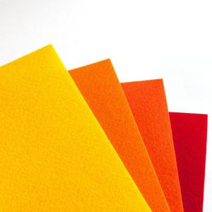 Набор фетра 4 листа в желто-оранжевых оттенках...