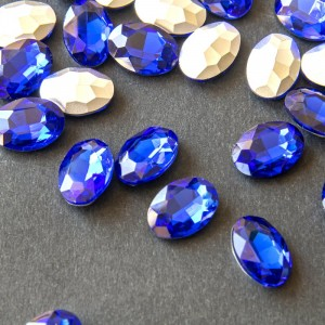 Кабошон стеклянный с гранями, овал, цвет синий, 14х10 м...