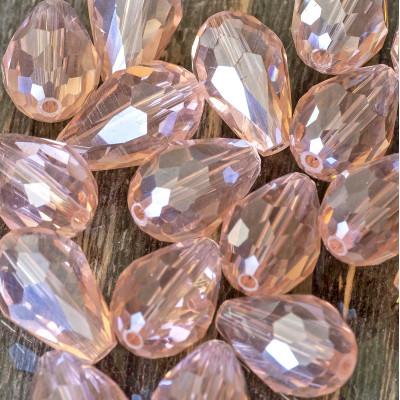 Бусина стеклянная граненая, розовый радужный, 15х10мм