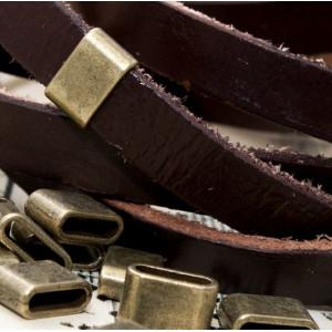 Бусина-слайдер металлическая, античная бронза, 8х13х5 м...