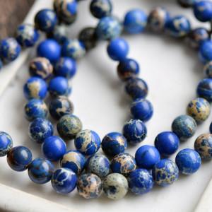Бусина варисцит 8, цвет синий, колорир., 8 мм...