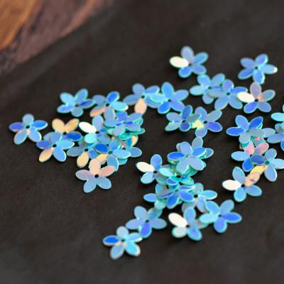 Пайетки, фигурные, голубой радужный, 10 мм (уп 5г)