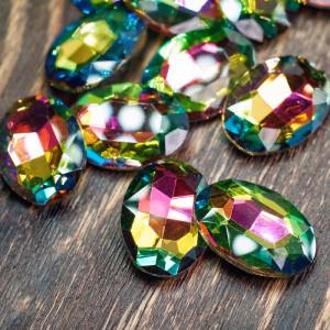 Кабошон стекло Кристалл, овальный, цвет  разноцветный, ...