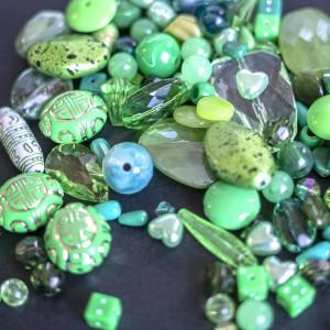Набор из акриловых бусин разной формы, зелено-голубого ...