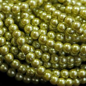 Бусина стеклянный жемчуг, светло-зеленый, 6 мм...