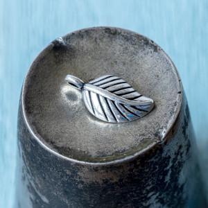 Подвеска металлическая в форме листа, античное серебро,...