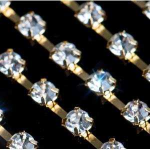 Цепочка для бижутерии со стразами, цвет Cristal/золото,...
