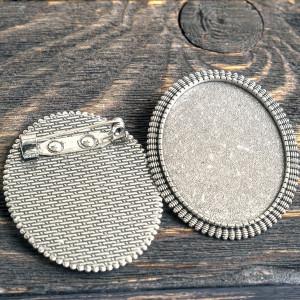 Заготовка для броши, овальная, античное серебро, 47x37x...
