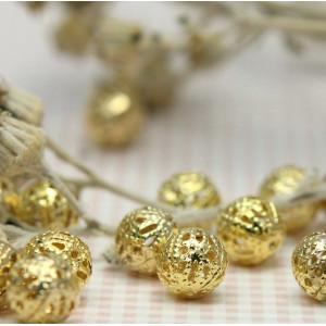 Бусина металлическая, золото, 8 мм...