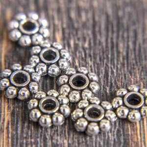 Разделитель-рондель для бусин, античное серебро, 8х3 мм...