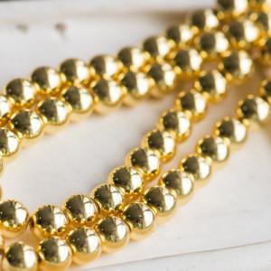 Бусина гематит синтетический, металлизир., цвет золото,...