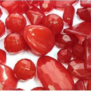 Набор из акриловых бусин  разной формы, цвет красно-ора...