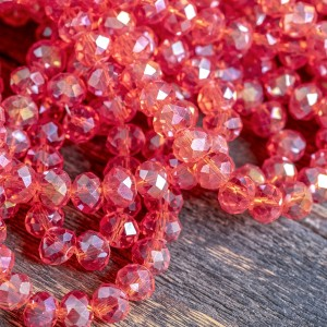 Бусина абакус стеклянная граненая, красный радужный, 8х...