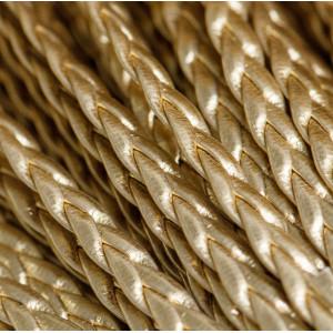 Шнур-косичка из искусственной кожи, золото, 5х2 мм...