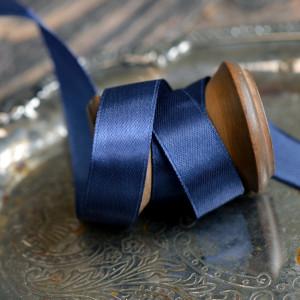 Атласная лента, темно-синий, ширина 15 мм...
