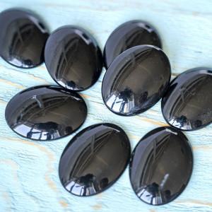 Кабошон стеклянный, овальный, черный, 40х30 мм...