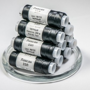 Нитки для бисера, лавсан 33Л №115, цвет черный...