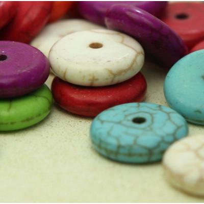 Бусина говлит плоская, разные цвета, 12х3 мм