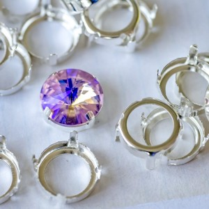 Цапы формы круг, открытые, цвет серебо, 14 мм...