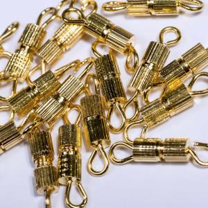 Замочек винт-бочонок, цвет золотой, 8х3 мм...