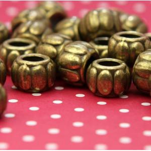 Бусина-тоннель металлическая, античная бронза, 9,5х6,5 ...