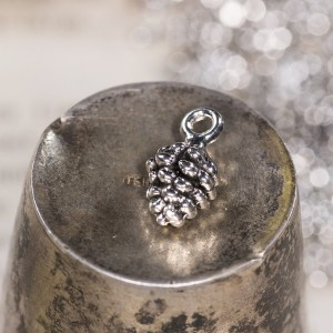 Подвеска металлическая в форме шишки, античное серебро,...