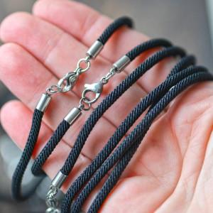 Заготовка для браслета из витого шнура, черный, 218x3 м...