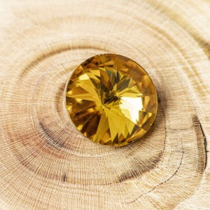 Кабошон стеклянный круглый Риволи, насыщенный желтый, 1...